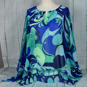 CHICO's Semi Sheer Top Blue & Green Size S/M  NEW